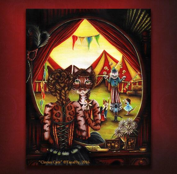 Circus Cat Art, Bengal Cat, Big Top Performers 8x10 Fine Art Print