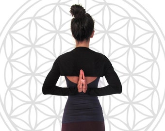 Bolero tube sleeve - scarf - arm warmer - yoga clothes - yoga top - dancewear. Black, Dark grey. Onesize