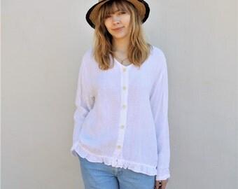 SALE 80s vintage boxy white linen blouse ruffled