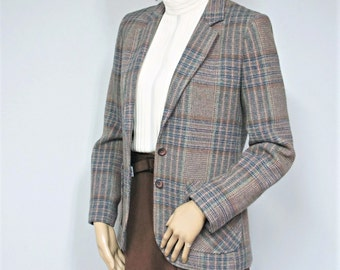 Vintage Plaid Blazer Jacket 1970's Collegian Prep Coat Classic Size Small, Extra Small
