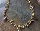 Wire Wrapped Labradorite, White Silverlite, Czech Glass Gold Necklace