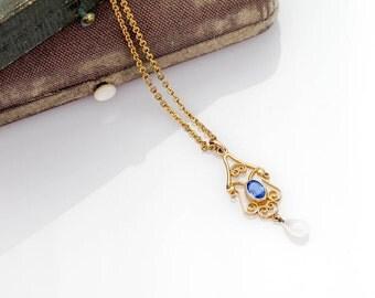 Antique Gold Blue Pendant | Antique Blue Sapphire Lavaliere Pendant | Edwardian Antique 10k Gold Pendant