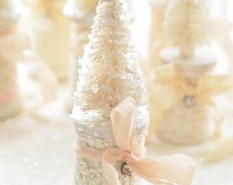 FREE SHIPPING  ~ Shabby Chic Bottle Brush Christmas Tree, Shabby Chic Christmas Tree, Nursery Christmas Tree, Shabby Chic Sisel Christmas Tr