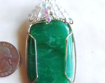 Chrysoprase Pendant, Australian AAA Gemstone Pendant, Swarovski Crystal Beaded Pendant, Wire Wrapped Gemstone Pendant, Sterling Silver Chain