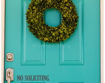 No Soliciting decal, Door decal, No Soliciting door sign, Door sticker, No Soliciting vinyl lettering, Front Door decor (LL1331)