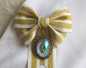 Duchess Bow Ribbon & Gem - Gold and White