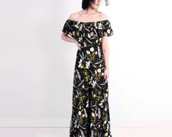 Black 'Desert Floral' Maxi Dress - Organic - Flutter Top - Summer Wedding - Slow Fashion - Off The Shoulder - Slow Fashion - Thief&Bandit®