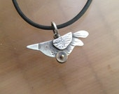 NEWLY Hatched Bird on Wheels, necklace, sterling, gold, watchparts