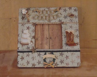 Country Western Wedding Decoupaged Picture Frame