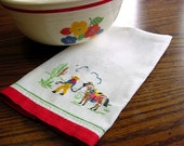 Vintage 50s Hand Embroidered SW Linen Hand Towel -Southwestern Cowboy Horse Cactus Sombrero -Red Trim Guest Bathroom Fingertip Tea Towel