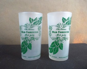 Pair of Vintage Old Forester Frosted Mint Julep Drink Glasses