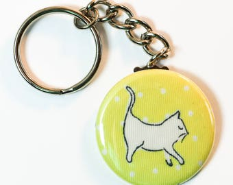 "Perrrrfectly Sweet Kitty Cat Decor, Cool Cat Strut, sealed upcycled fabric button keychain - 1.5"" (1 1/2 inch, 38mm)"