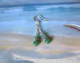 Green Earrings, Adventurine Dangle Earrings, Beaded Gemstone Jewelry