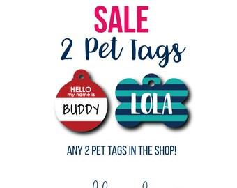 Discount Pet Tag SALE Pet Tags 2 Pet Tags Dog Tag Cat Tag Personalized Pet ID Custom Pet Tag