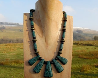 Emerald and Bronze Tile Fanned Necklace, Statement Jewelry, Polymer Clay and Sterling Silver, by Supremily Jewellery