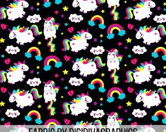 Fat Unicorn Fabric By The Yard - Magical Bright Rainbow Unicorns with Cute Clouds Stars and Hearts on Black Print in Yards & Fat Quarter