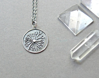 Sterling Silver Dandelion Seed Necklace, Dandelion Necklace, Sterling Silver Dandelion Necklace, Dandelion Wish Necklace, Dandelion Jewelry