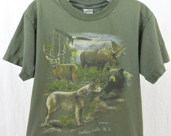Vintage Wildlife T Shirt, Animal T Shirt, Size XS, Hipster, Distressed, Grunge, Indian Lake, New York, Quirky, 90's Clothing