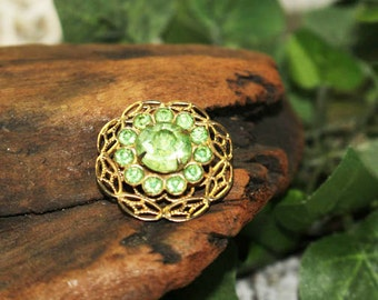 Green and Gold Vintage Brooch, Vintage Pin    -   O
