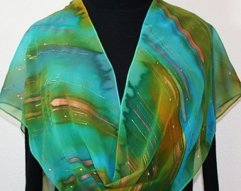 Green, Teal, Olive Hand Painted Chiffon Silk Scarf ENCHANTED WOODS, in Several SIZES. Birthday Gift. Bridesmaid Gift. Mother Gift