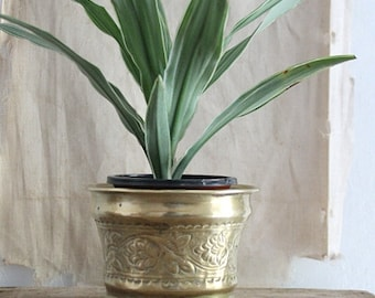 Vintage Small Embossed Brass Planter