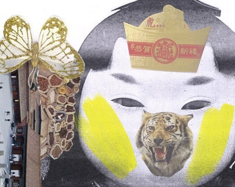 Tiger face chinese girl - another weird and wonderful 'Chinese Cracker 6'  Collage. Limited Edition Print one of only 25. Free world Postage