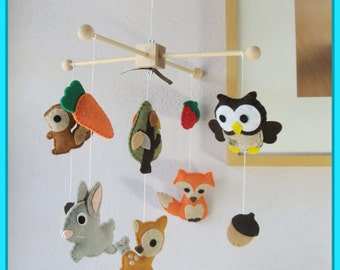 Baby Mobile, Nursery Decor, Woodland Friends Mobile, Forest Animals Mobile, Bunny Deer Fox Owl Squirrel, Custom Mobile