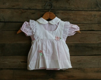 Vintage Children's White & Pink Pinstripe Floral Dress with Pinafore Apron by Nana's Pet Size 12 Months