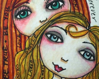 Always and Forever Art, Mom Daughter Art, Free Spirit Girl, ACEO print, Girl Art, Mini collectible Art, ACEO Girl Art, To the Moon and Back