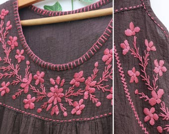 Hand Embroidered Sleeveless Top, Handmade Summer Cotton Women Top, Floral Embroidered Top, Loose Fit Comfy Maternity Top in Dark Brown