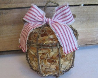 Rustic Apple Shelf Sitter, Embellished Primitive Metal Apple, Harvest Apple, Metal Apple Decor