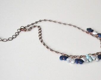 Bear Necklace, Bear Lover, Blue Necklace, Stone Bear Jewelry, Copper Necklace
