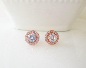 Rose Gold Diamond Stud Earrings, Bridal Jewellery, Wedding Earrings, Stud Bridal Earrings, Cubic Zirconia Rose Gold Earrings, Rose Gold