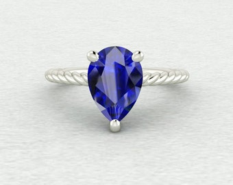 10x7mm Pear Cut Chatham Blue Sapphire Twisted Rope Solitaire Engagement Ring LCDS029