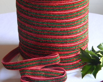 "Green & Red Stripe FOE 5 yards of 5/8"" Sparkle Fold Over Elastic Christmas Print for Holiday Girls Headband Connectors Gift Wrap Clothing"