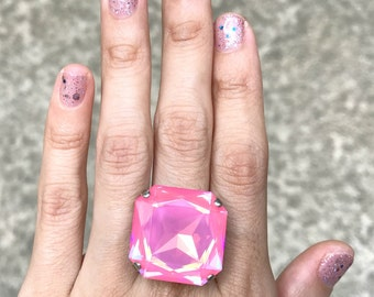 Hot Pink Ring // Neon Pink Swarovski Ring // Big ULTRA PINK Square Crystal Ring // Chunky Statement Cocktail Ring