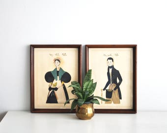 Pair of Framed Vintage Prints // Illustrated Colonial Portraits