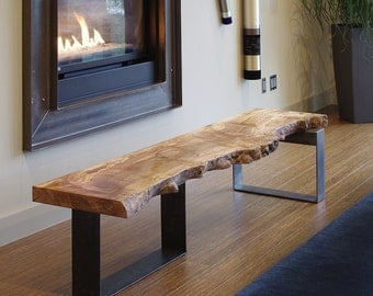 live edge coffee table from urban salvage wood and high recycled content steel - north | west table - modern industrial natural edge