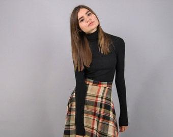 Vintage 60s Plaid Skirt / A-Line Plaid Skirt / High-Waist Skirt / Midi Plaid Skirt Δ size: L