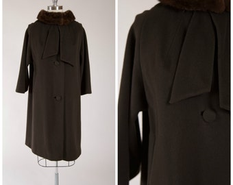 Vintage 1960s Swing Coat • Glamorous Moments • Brown Mohair Wool Fur Trim 60s Coat by Designer Lilli Ann Size Medium