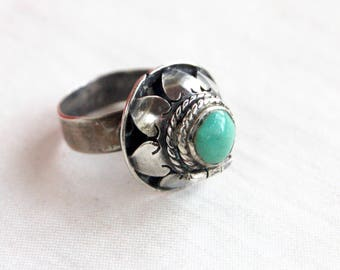 Mexican Poison Ring Vintage Sterling Silver Adjustable Secret Compartment Jewelry Faux Turquoise Colonial Style