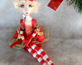 RESERVED to M/Ooak Art Doll  -Clémentine the Christmas elf .Handmade