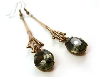 Black Diamond Jewel earrings, Antique Style, Art Nouveau, Long Earrings, Black Jewel