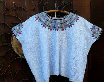 Free US Ship, Vintage 1970's Mexican Huipil, Huipil Blouse, Frida Costume, Bohemian, Hippie, Ethnic, Gypsy
