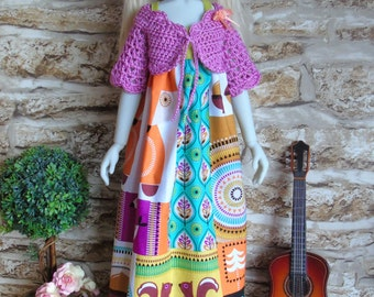 Ooak Funky Forest dress, pink crochet shrug and hat outfit clothes for Kaye Wiggs Kaze Kidz Thistle Laycee SD BJD dolls 1/3