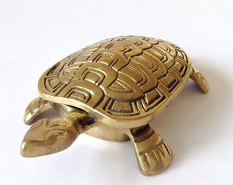 Hinged Solid Brass Turtle Box