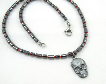 "Skull Necklace, Men's Jewelry, Beaded Hematite Necklace with Skull, ""Born to Raise Hell"" Biker Jewelry"