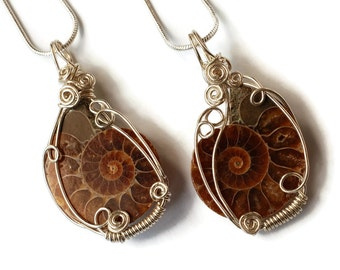 Ammonite Fossil Necklaces (Pair or Single) with Simple Wire-work / Natural Fossil Pendants / Best Friends Necklaces / For Him and Her