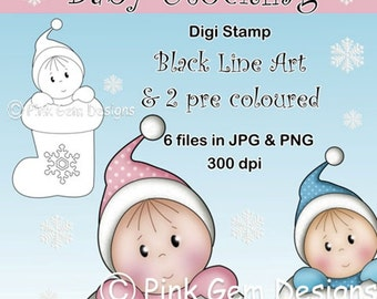 Digi Stamp Baby Christmas Stocking. Black Line Art  and Pre Coloured Versions In Pink and Blue. 6 Files JPG/PNG