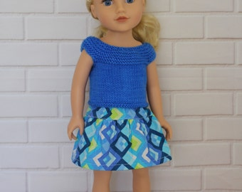 Bright Blue Knitted Top Blue Skirt Doll Clothes to fit 18 inch dolls such as Journey Girls dolls & similar slim dolls